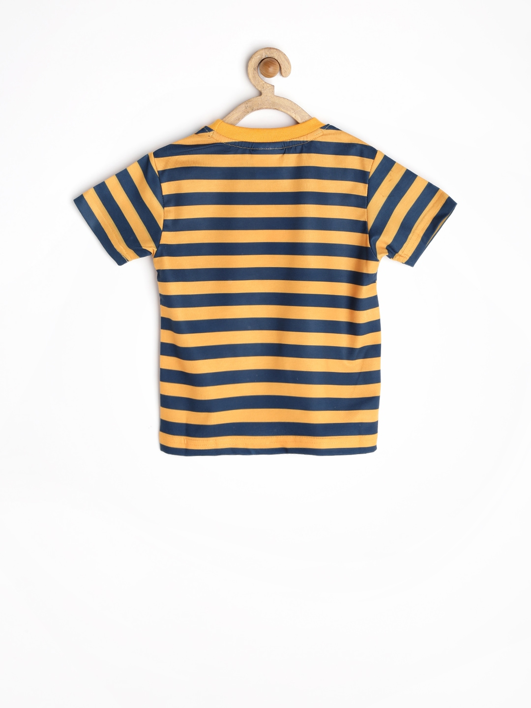 Myntra jungle book boys mustard yellow teal blue striped for Boys teal t shirt