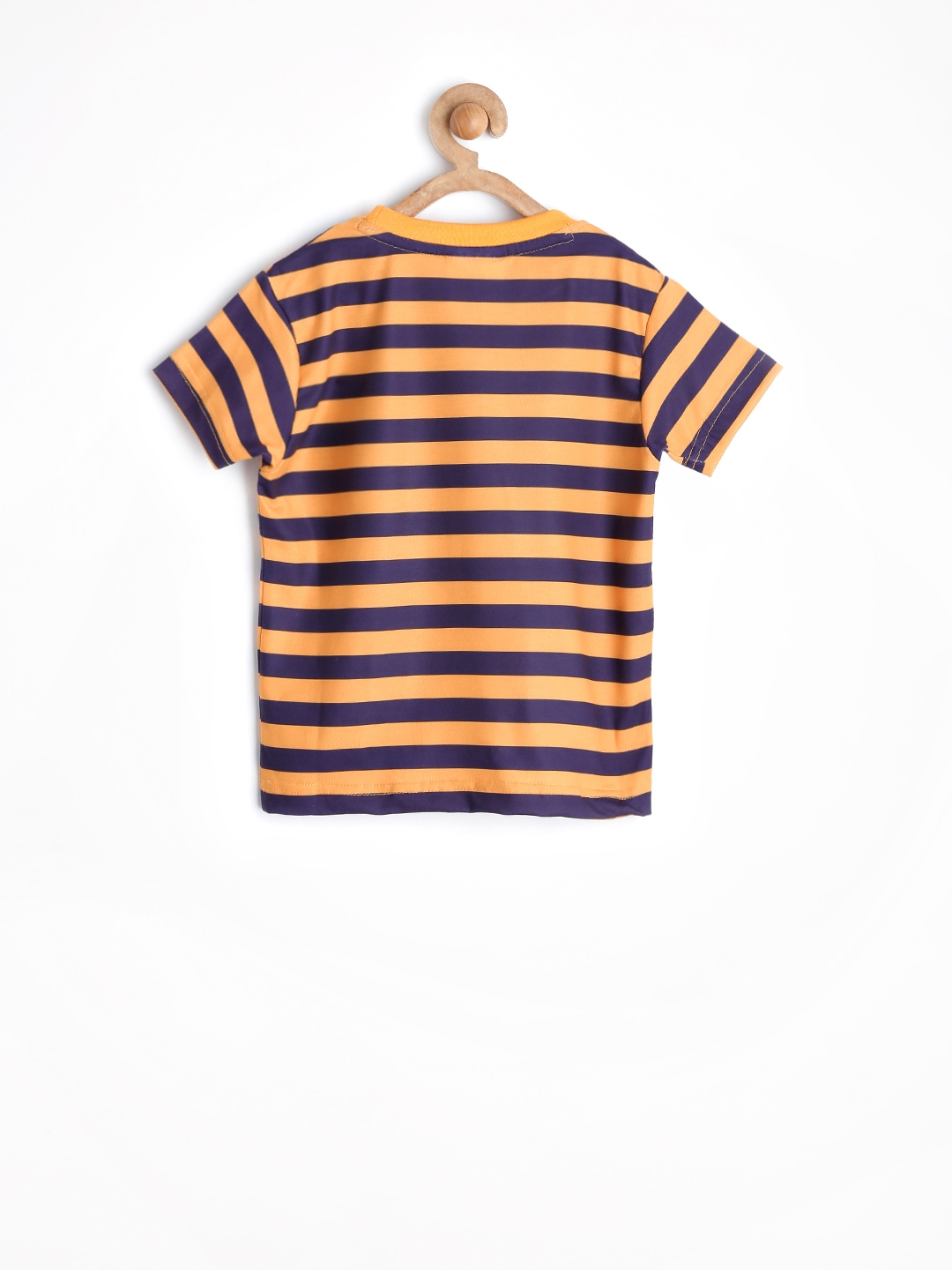 Myntra jungle book boys mustard yellow purple striped t for Purple and black striped t shirt
