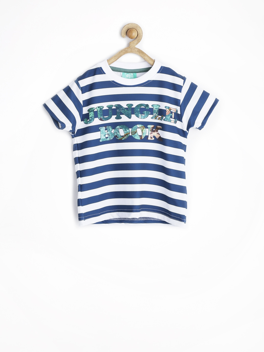 Myntra jungle book boys white teal blue striped t shirt for Boys teal t shirt