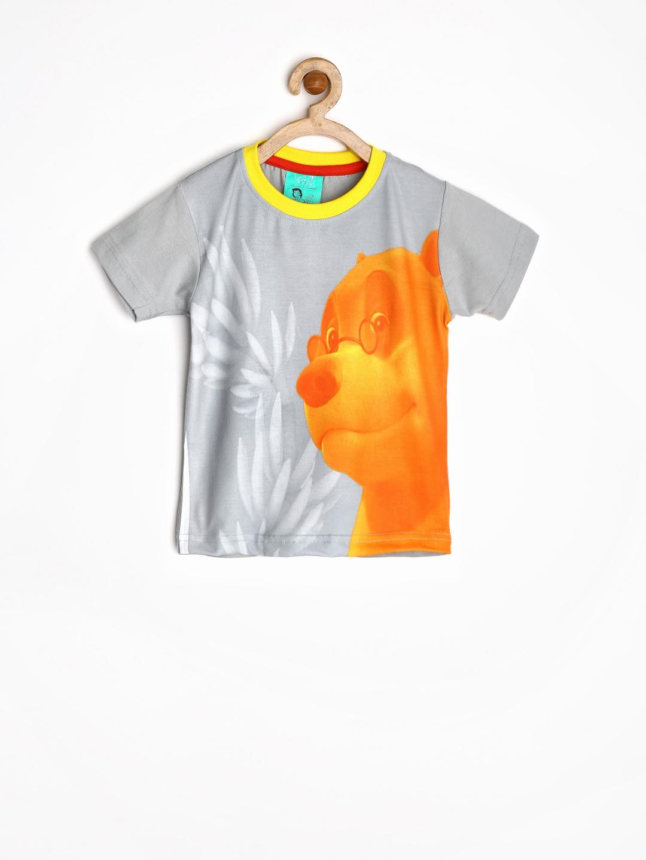 Myntra jungle book boys grey orange printed t shirt for Boys printed t shirts