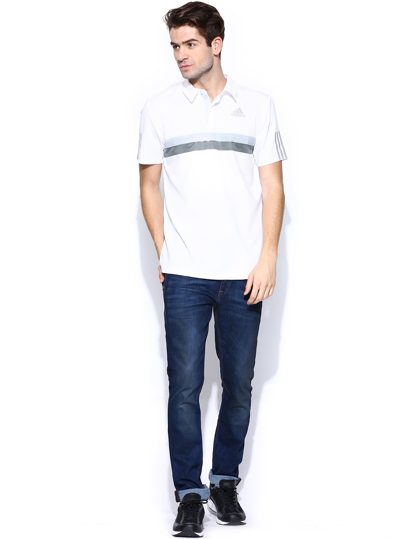 Myntra adidas men white barricade polo t shirt 706017 for Adidas barricade polo shirt