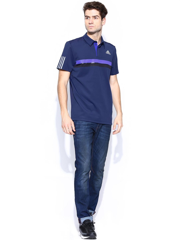 Myntra adidas men navy barricade polo t shirt 706018 buy for Adidas barricade polo shirt