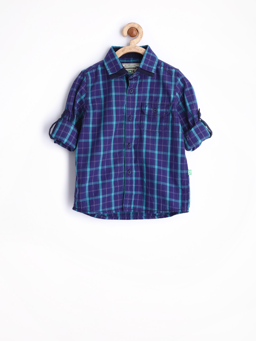 Myntra bonorganik boys purple teal green checked casual for Boys teal t shirt