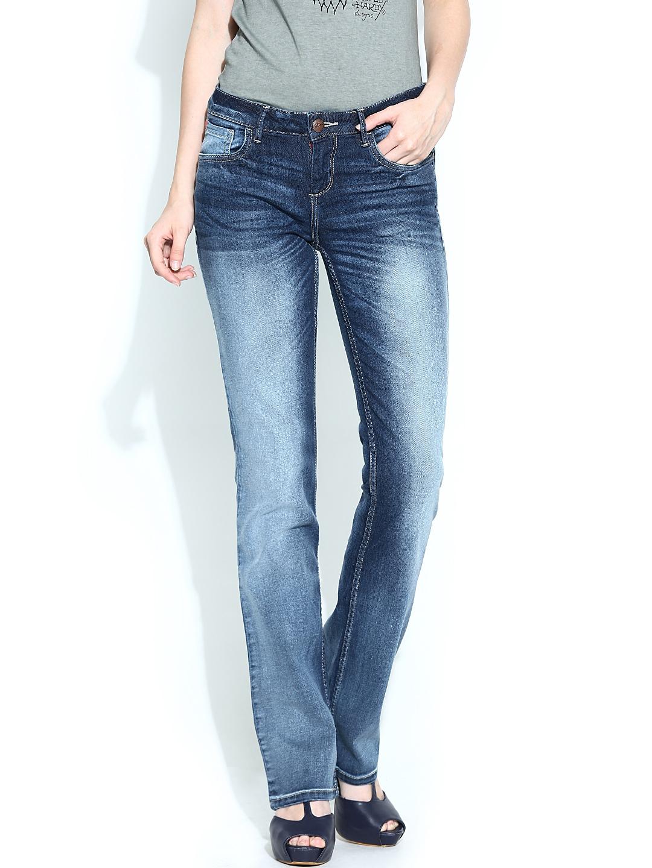 Ed hardy women blue jeans at myntra