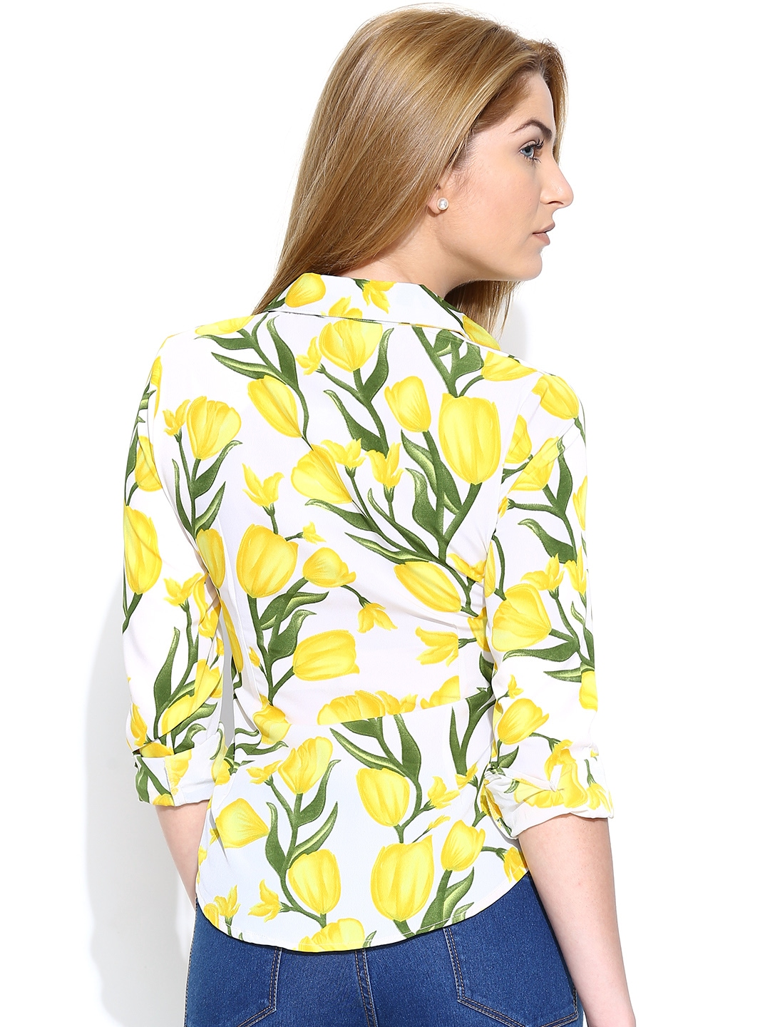 Myntra the vanca women off white yellow floral printed for White floral shirt womens