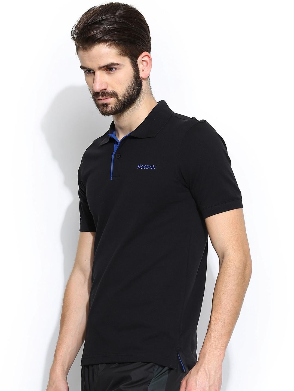 myntra reebok men black dist core training polo t shirt