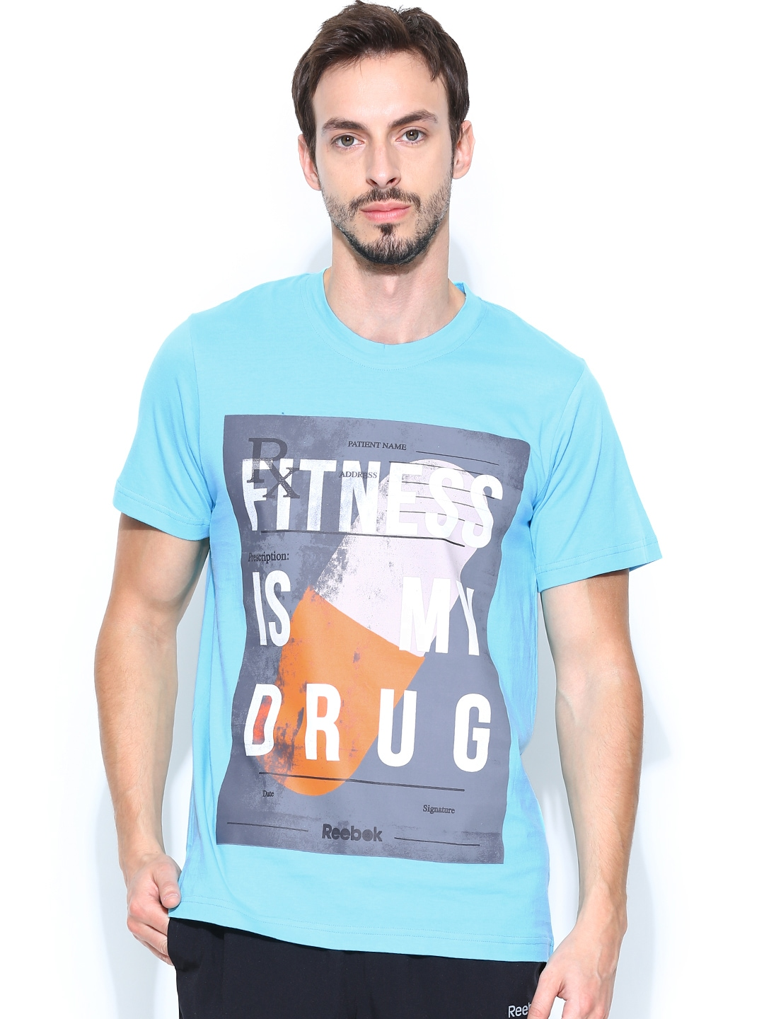 Myntra reebok men blue fitness drug t printed training t for Gym printed t shirts