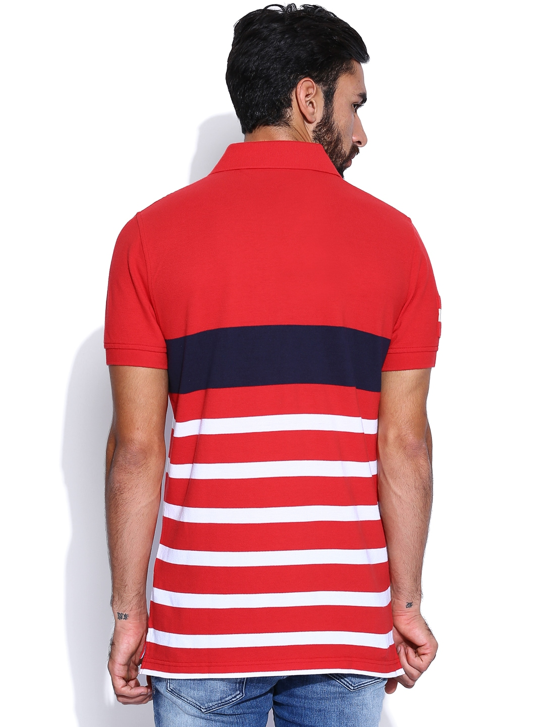 Myntra tommy hilfiger men red white striped polo t shirt for Red white striped polo shirt