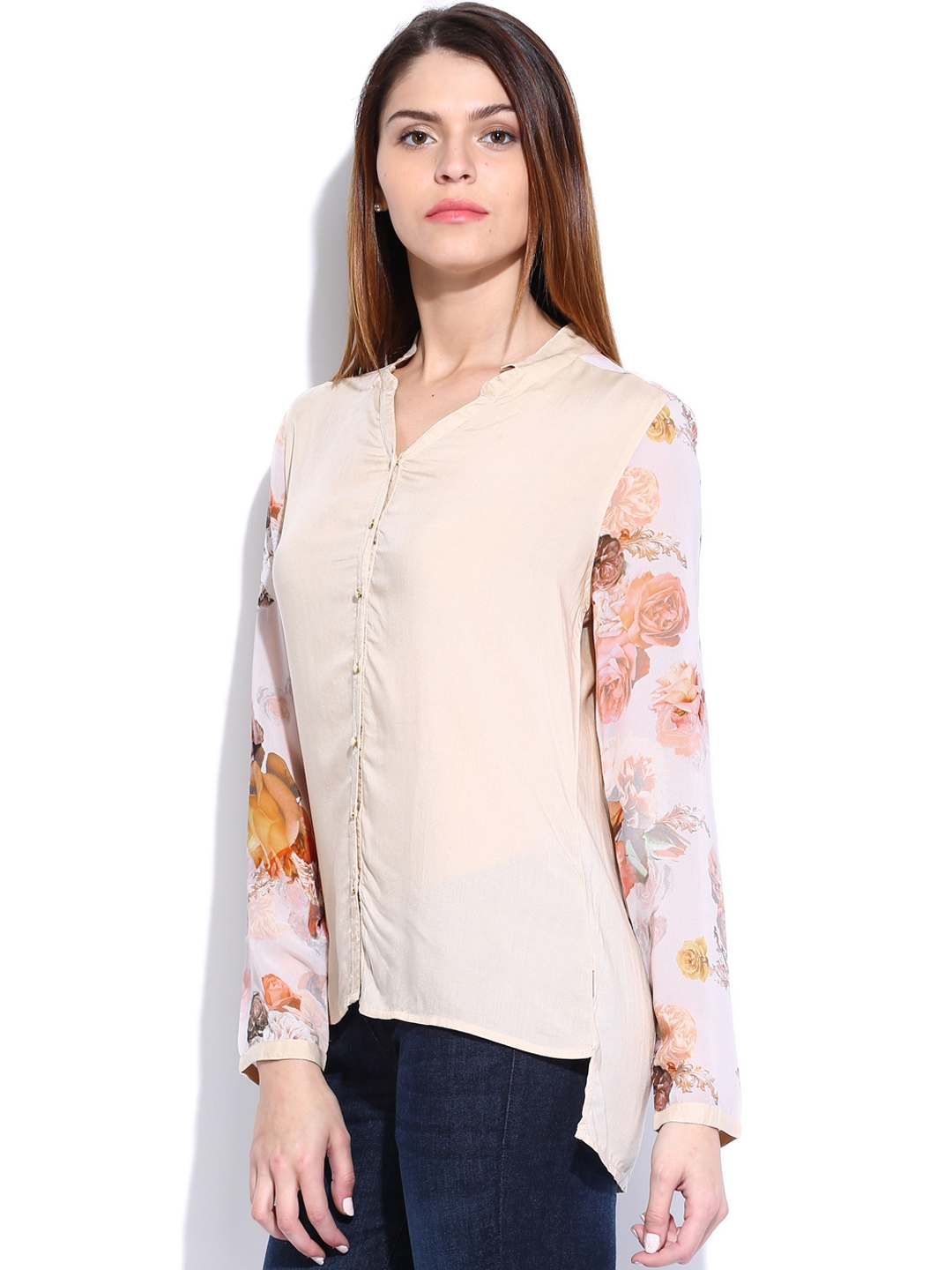 Myntra lee women beige shirt 711393 buy myntra lee for Shirts online shopping lowest price