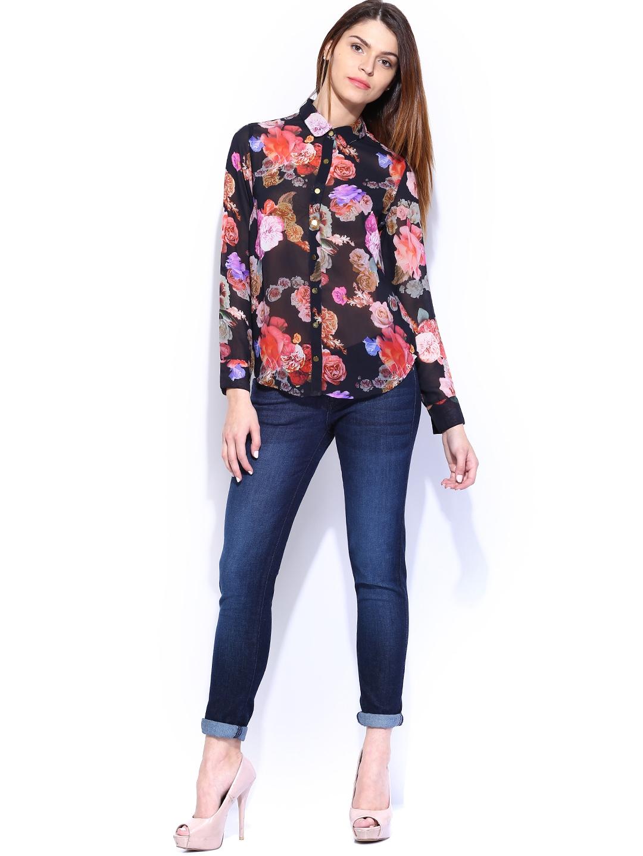 Myntra Lee Women Black Floral Printed Shirt 711395 Buy
