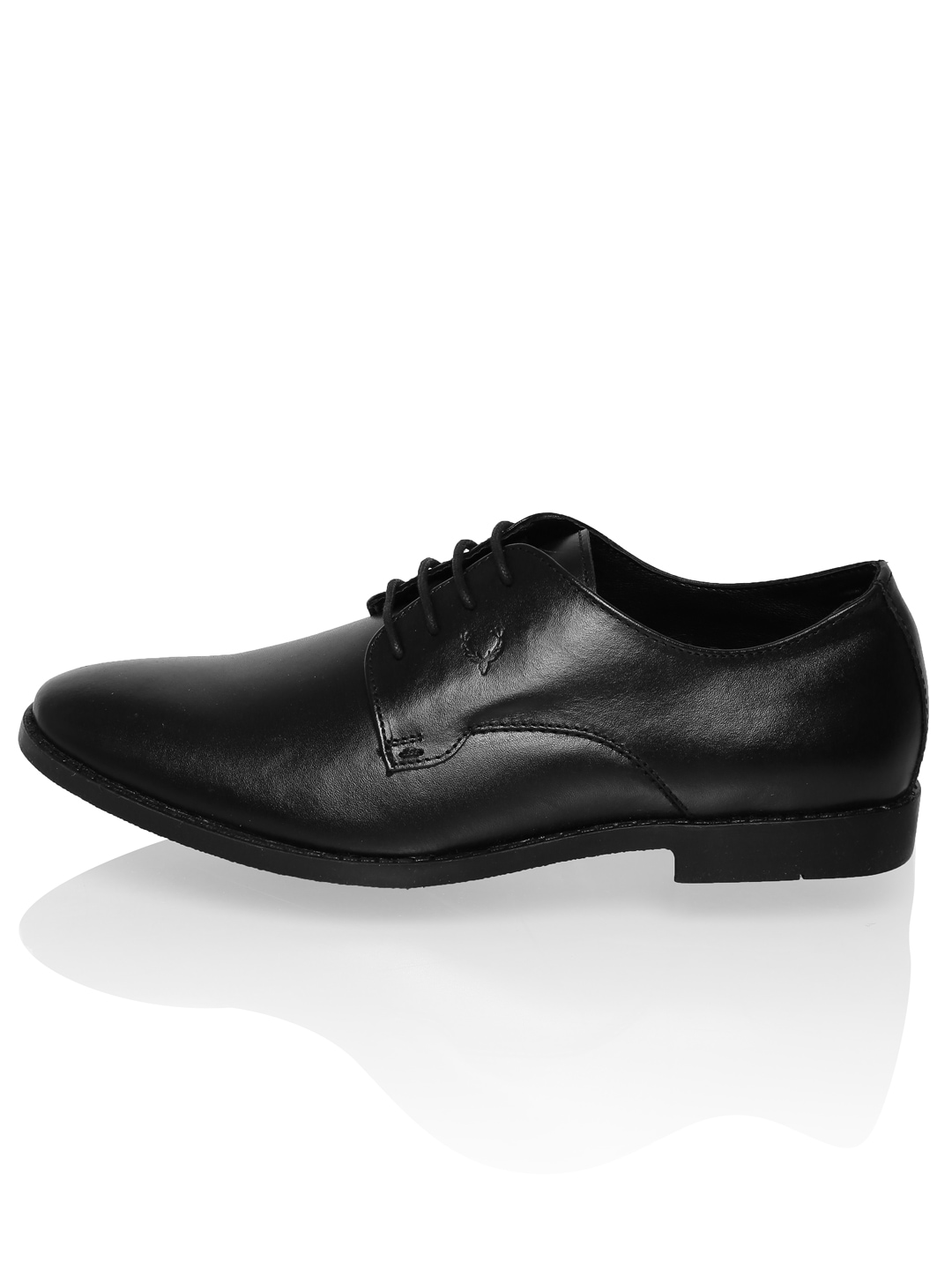 myntra allen solly black leather formal shoes 711879