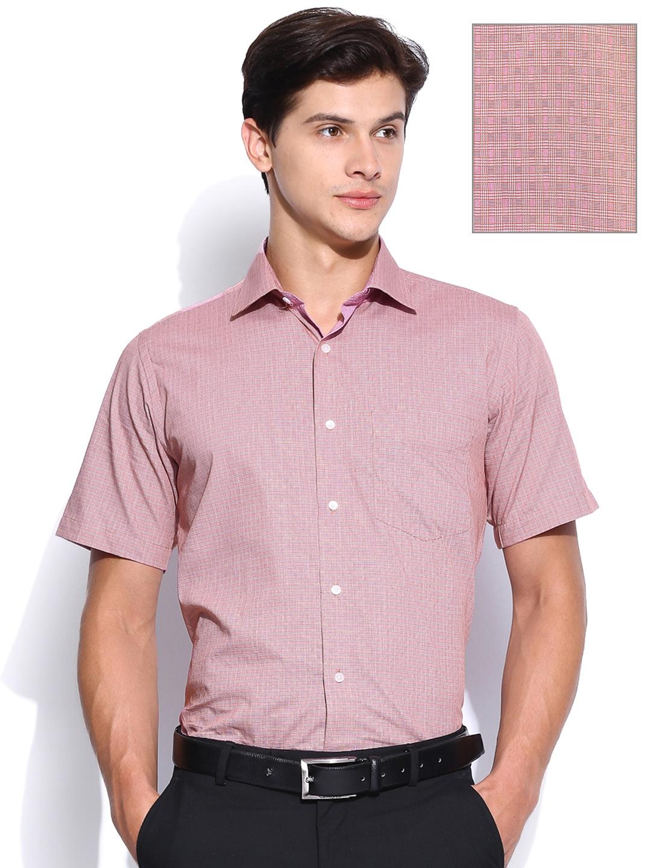 myntra van heusen men red checked slim fit formal shirt