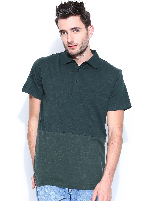 Myntra blue saint orange sleeveless t shirt 821339 buy for Dark green mens polo shirt