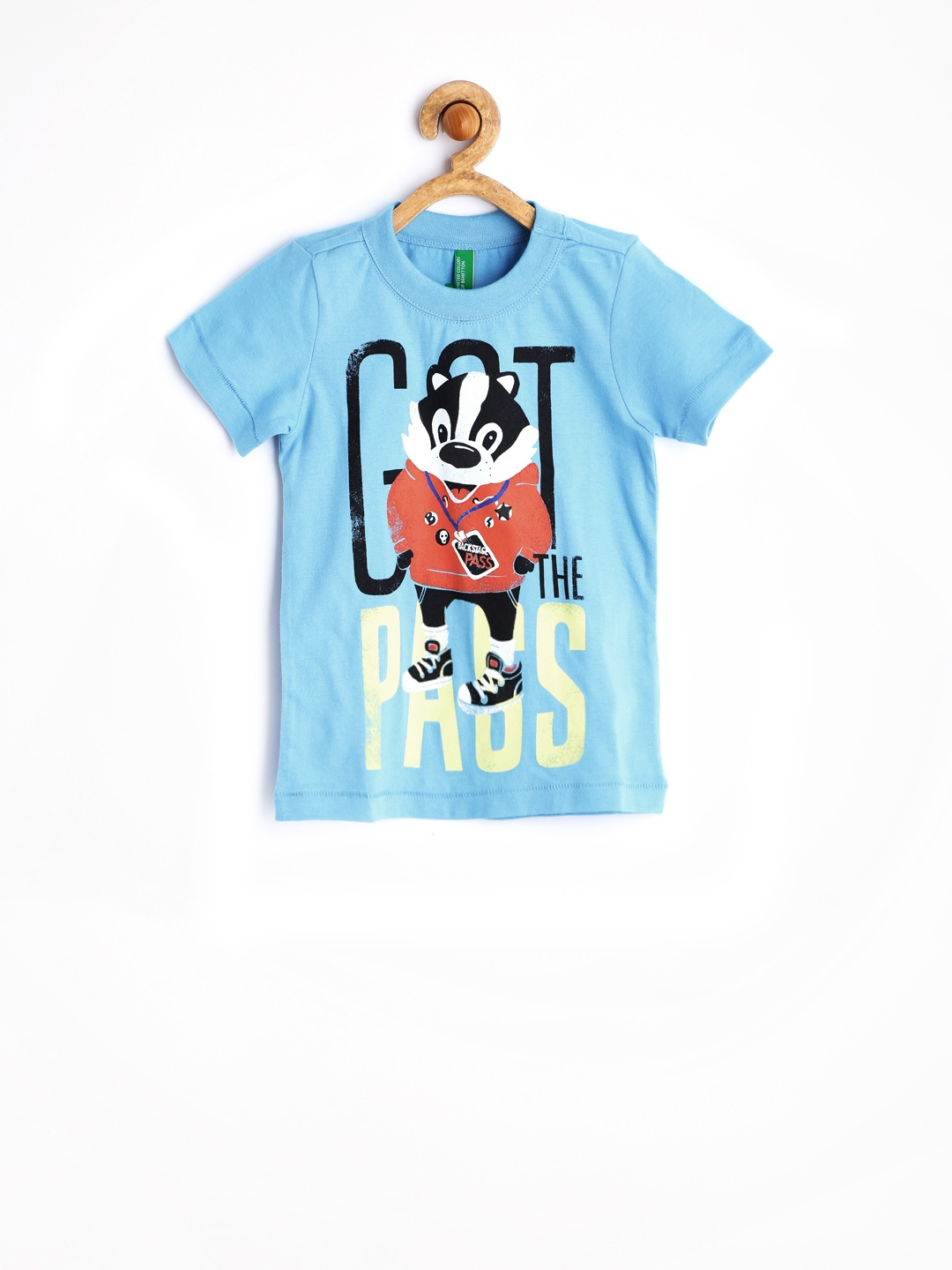 Myntra united colors of benetton turquoise blue printed t for Aqua blue color t shirt