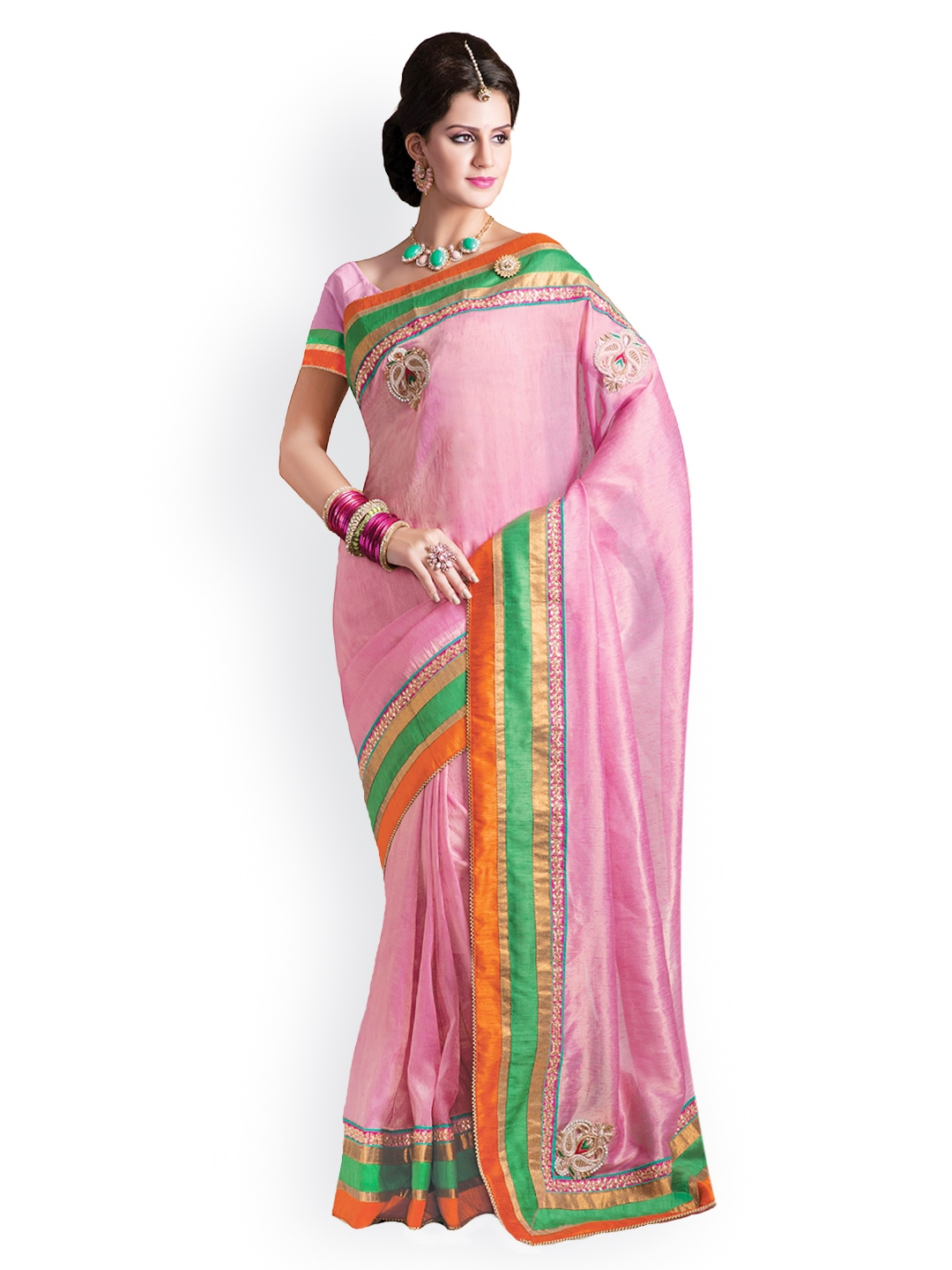 Myntra Kashish Lifestyle Pink Jute Fashion Saree 715061 Buy Myntra Kashish Lifestyle Fashion