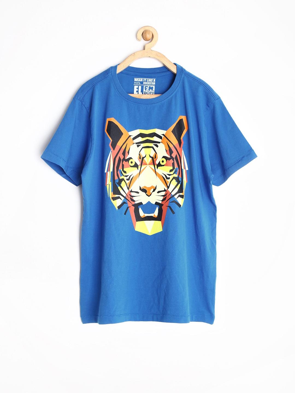 Myntra rockstar by flying machine boys blue printed t for Boys printed t shirts