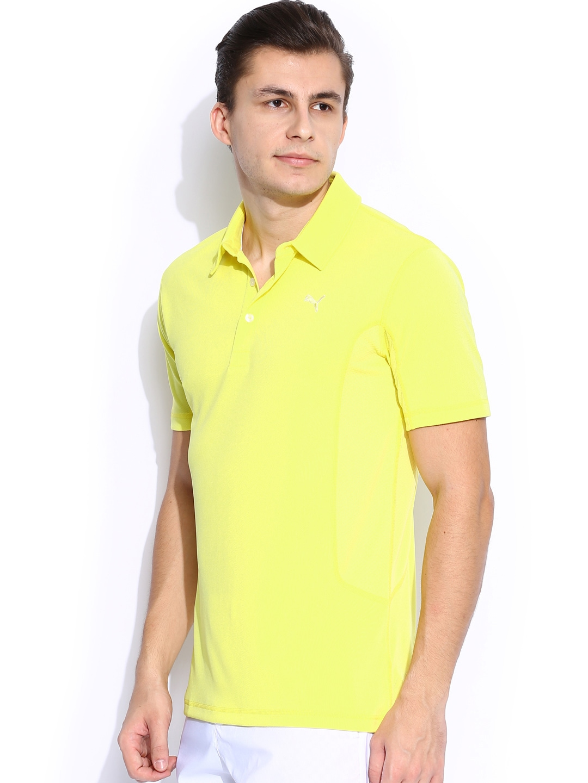 Myntra puma yellow golf polo t shirt 716490 buy myntra for Golf shirt vs polo shirt