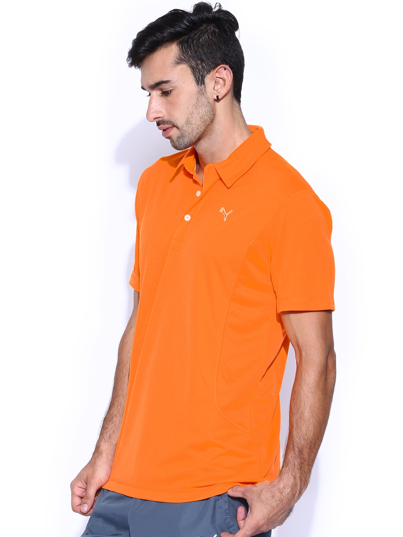 Myntra puma orange golf tech polo t shirt 716492 buy for Golf shirt vs polo shirt
