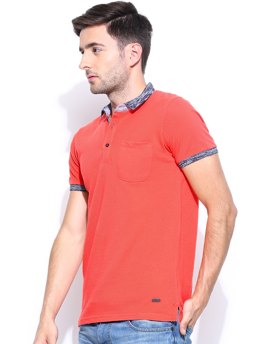 Myntra United Colors Of Benetton Men Coral Pink Polo T