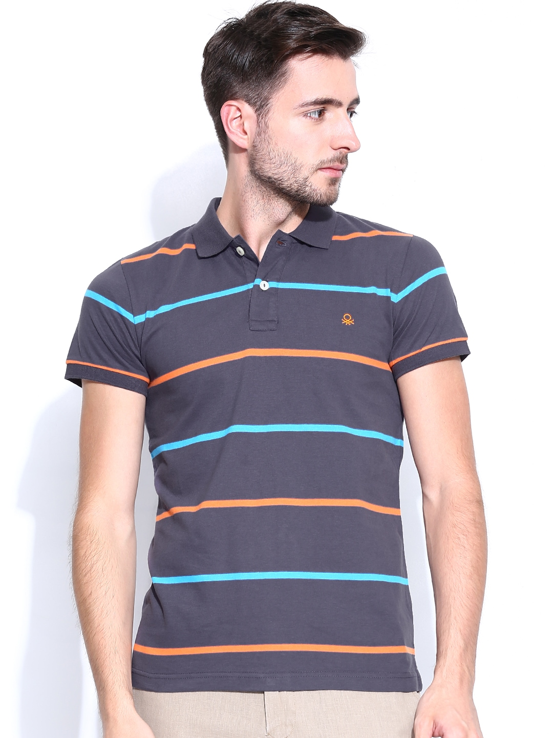 Myntra united colors of benetton men purple striped polo t for Purple and black striped t shirt