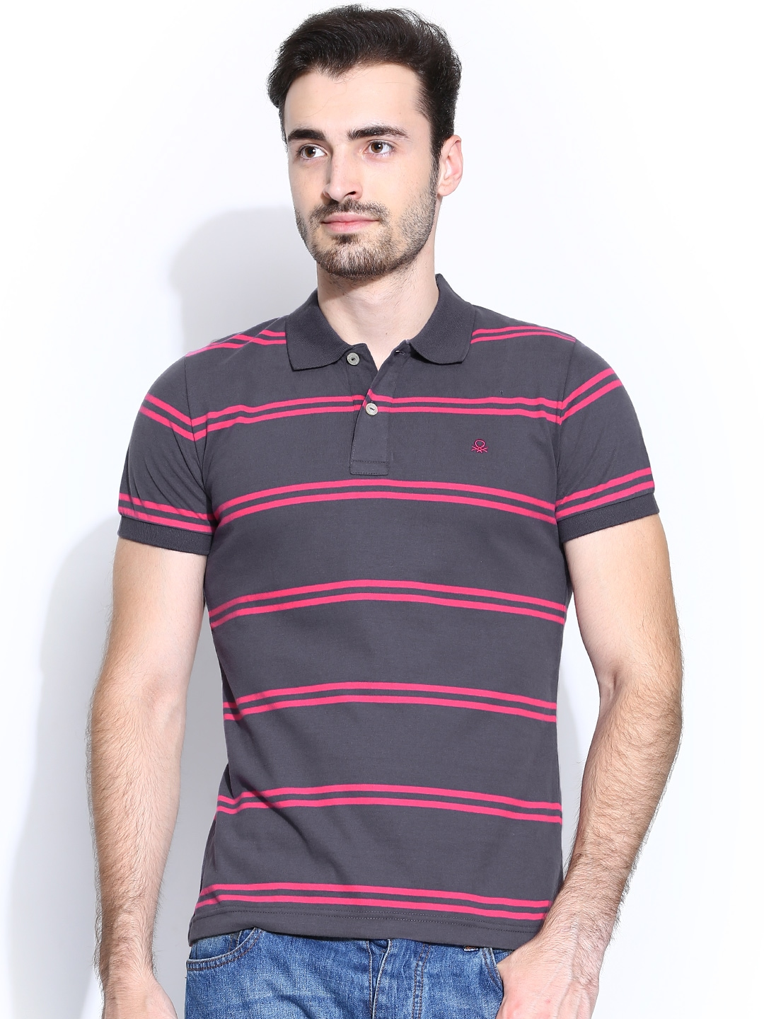 Myntra united colors of benetton men purple pink striped for Purple and black striped t shirt