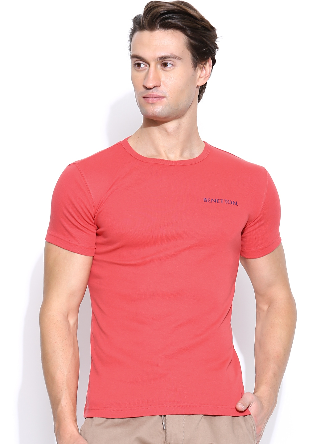 Myntra United Colors Of Benetton Men Coral Red T Shirt