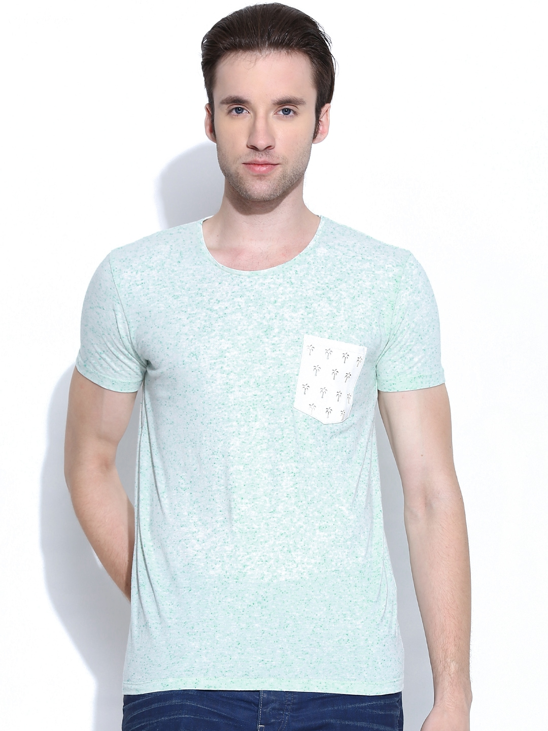 Myntra united colors of benetton men mint green t shirt for Mint color polo shirt