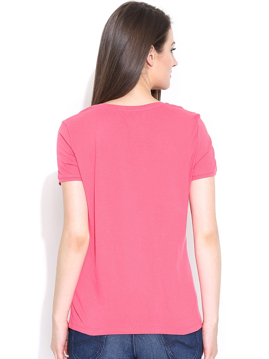 Myntra united colors of benetton women pink t shirt 717349 for Shop online benetton
