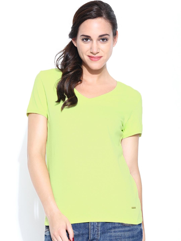 Myntra united colors of benetton women green t shirt for Shop online benetton