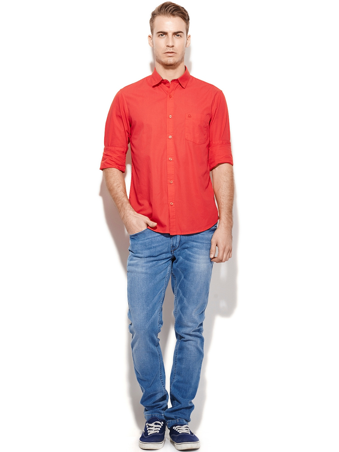 Myntra united colors of benetton men red casual shirt for Shop online benetton