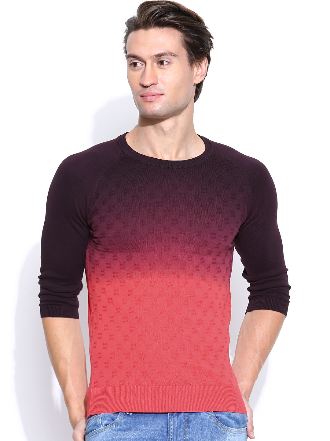 Myntra United Colors of Benetton Men Orange Wool Blend Sweater 481366