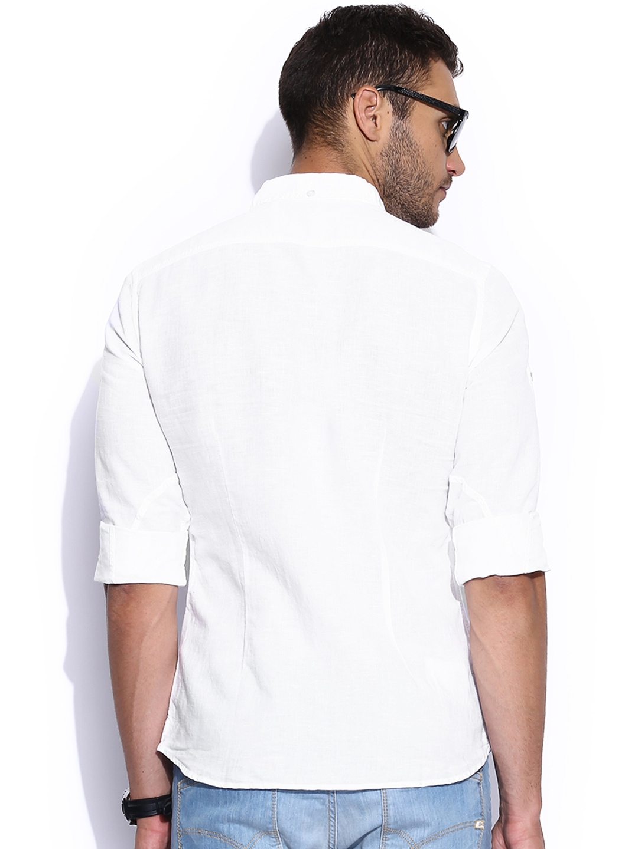 Myntra gas men white slim fit linen casual shirt 718044 for Slim fit white linen shirt