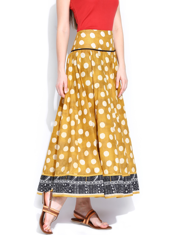 myntra w mustard yellow polka dot printed maxi skirt