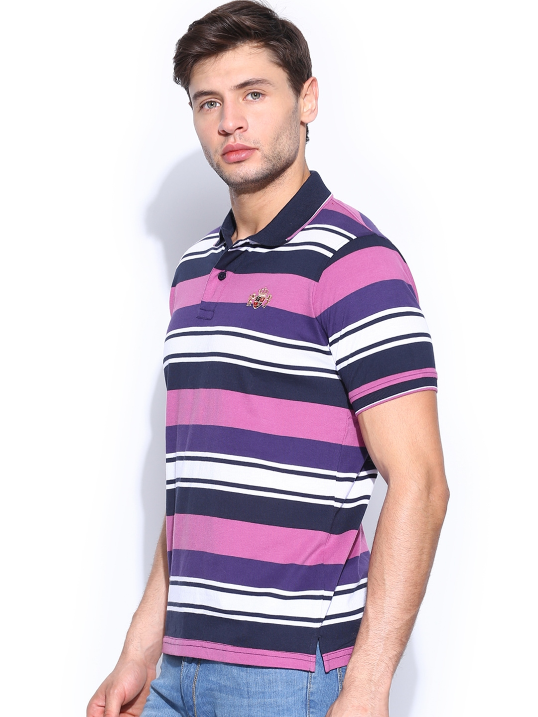 Myntra proline men navy purple striped polo t shirt for Purple and black striped t shirt