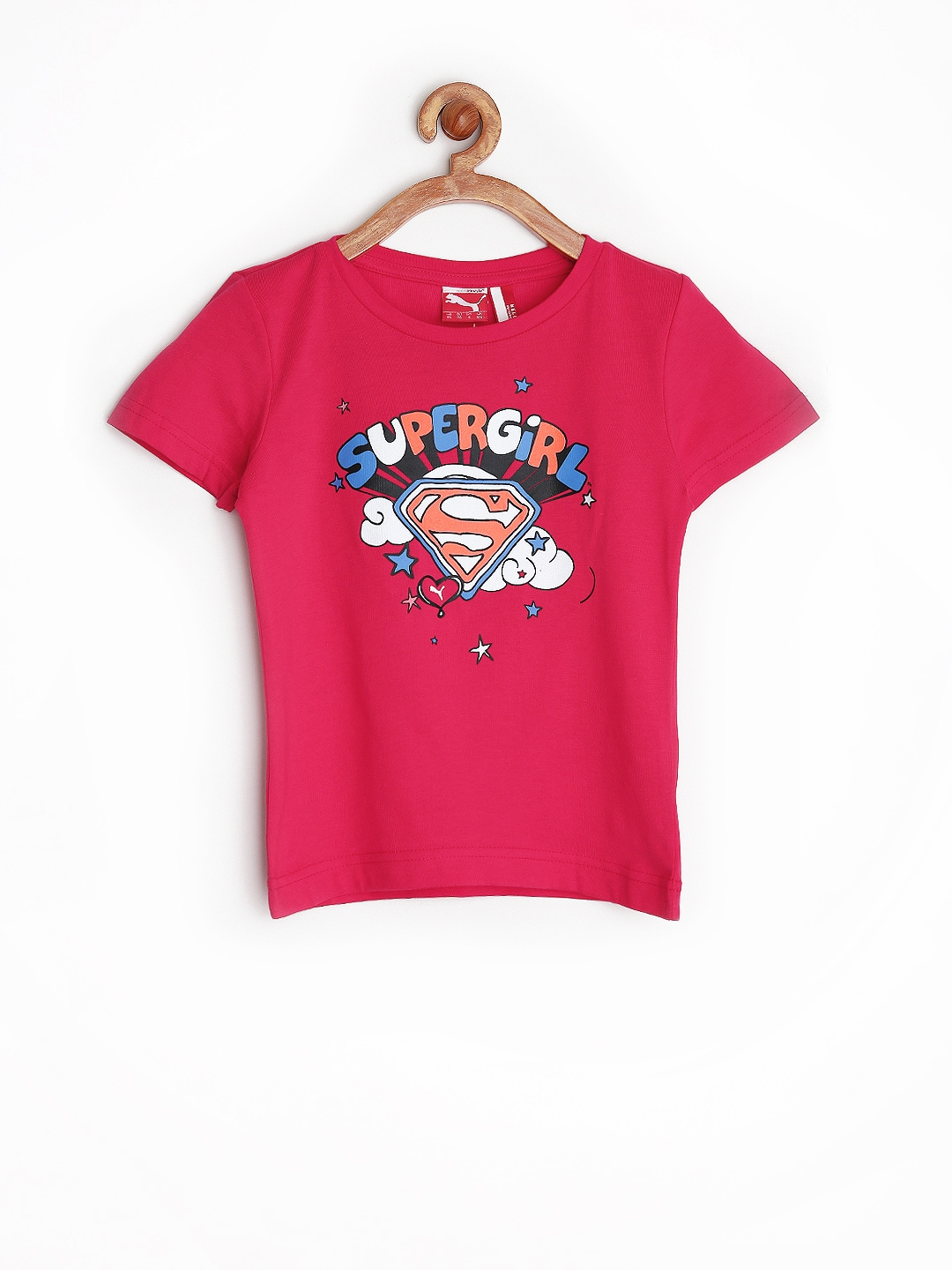 Myntra puma girls pink supergirl printed t shirt 720439 for Shirts online shopping lowest price
