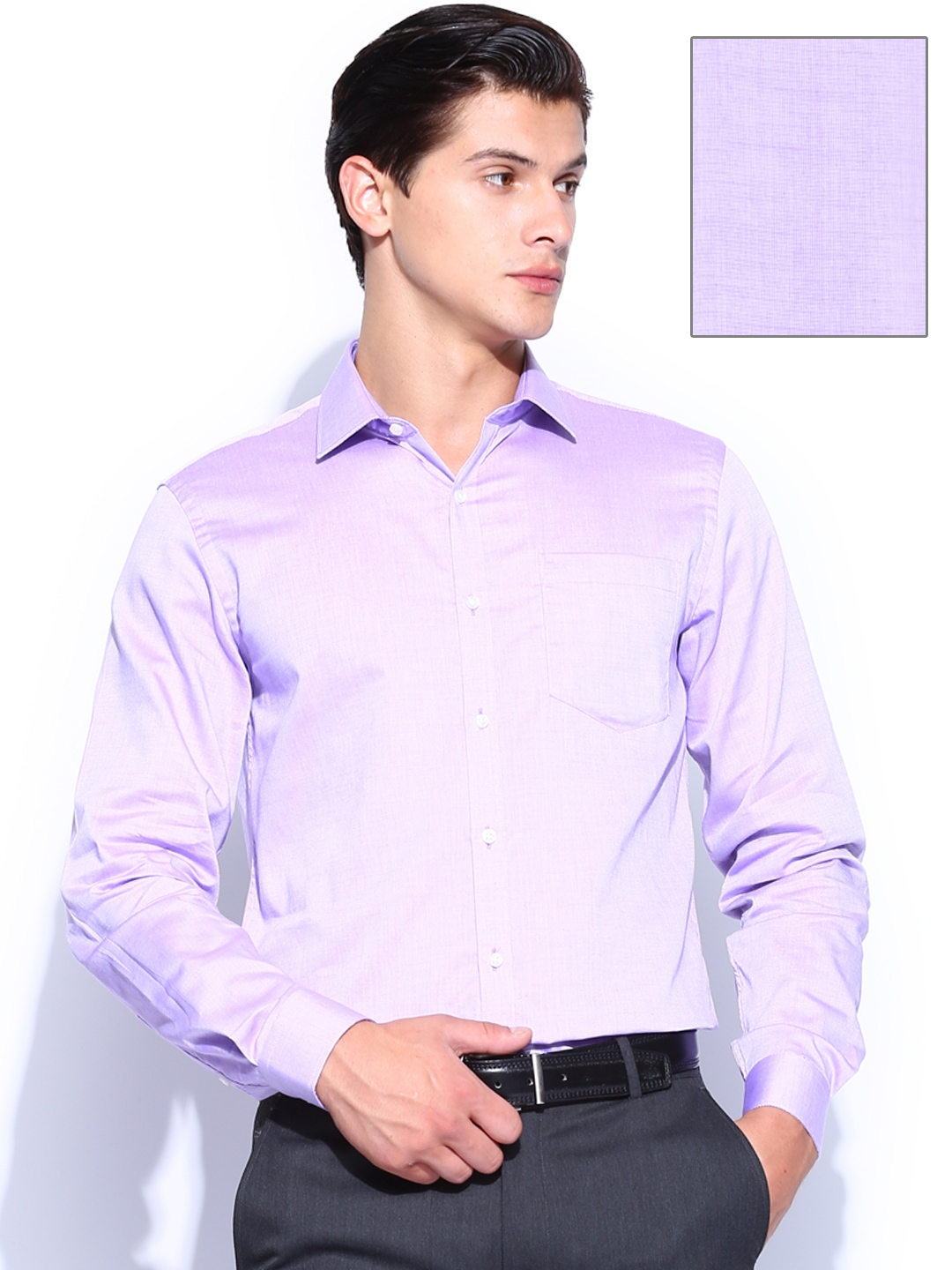 Myntra black coffee men light purple slim fit formal shirt Light purple dress shirt men