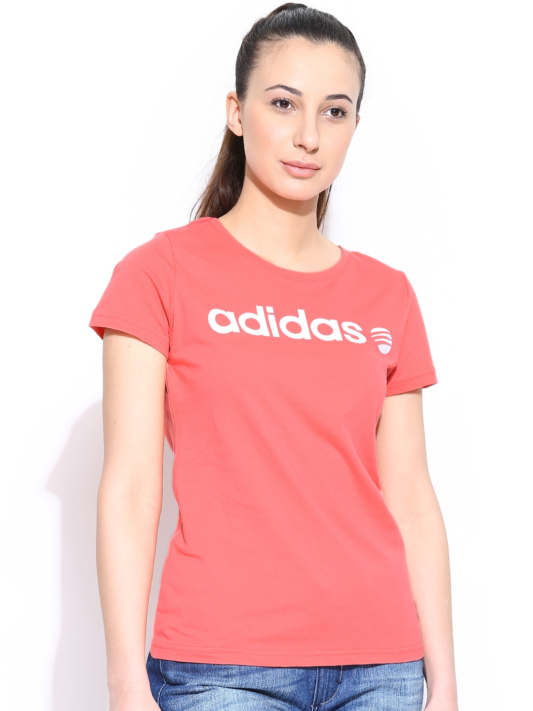 Myntra adidas neo women coral pink w basic logo t shirt for Coral t shirt womens