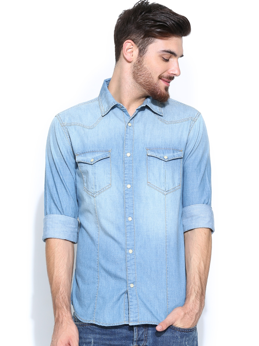 Myntra united colors of benetton men blue denim casual for Online shopping mens shirts