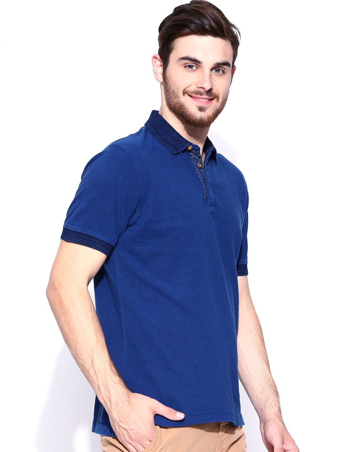 Myntra indian terrain men blue polo t shirt 722757 buy for Polo t shirts india