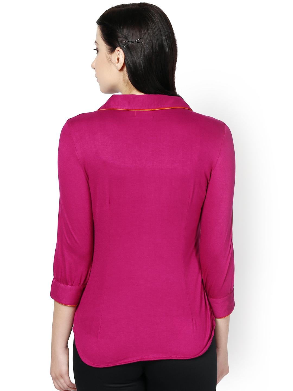 Myntra kaaryah women magenta smart casual shirt 722790 for Shirts online shopping lowest price