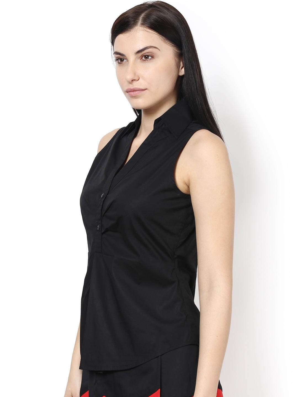 Myntra kaaryah women black sleeveless slim fit smart for Black sleeveless shirt womens