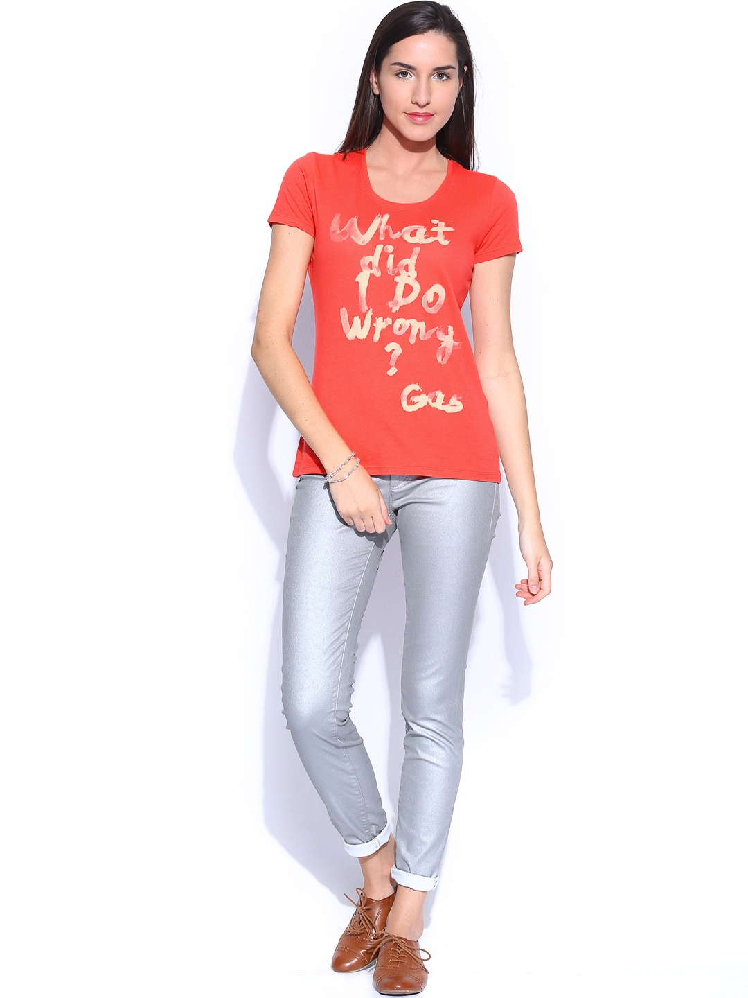 Myntra gas women coral pink printed doll wrong t shirt for Coral t shirt womens