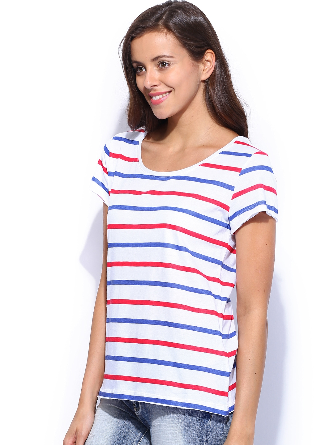 Myntra only women white red striped t shirt 724605 buy for Best striped t shirt