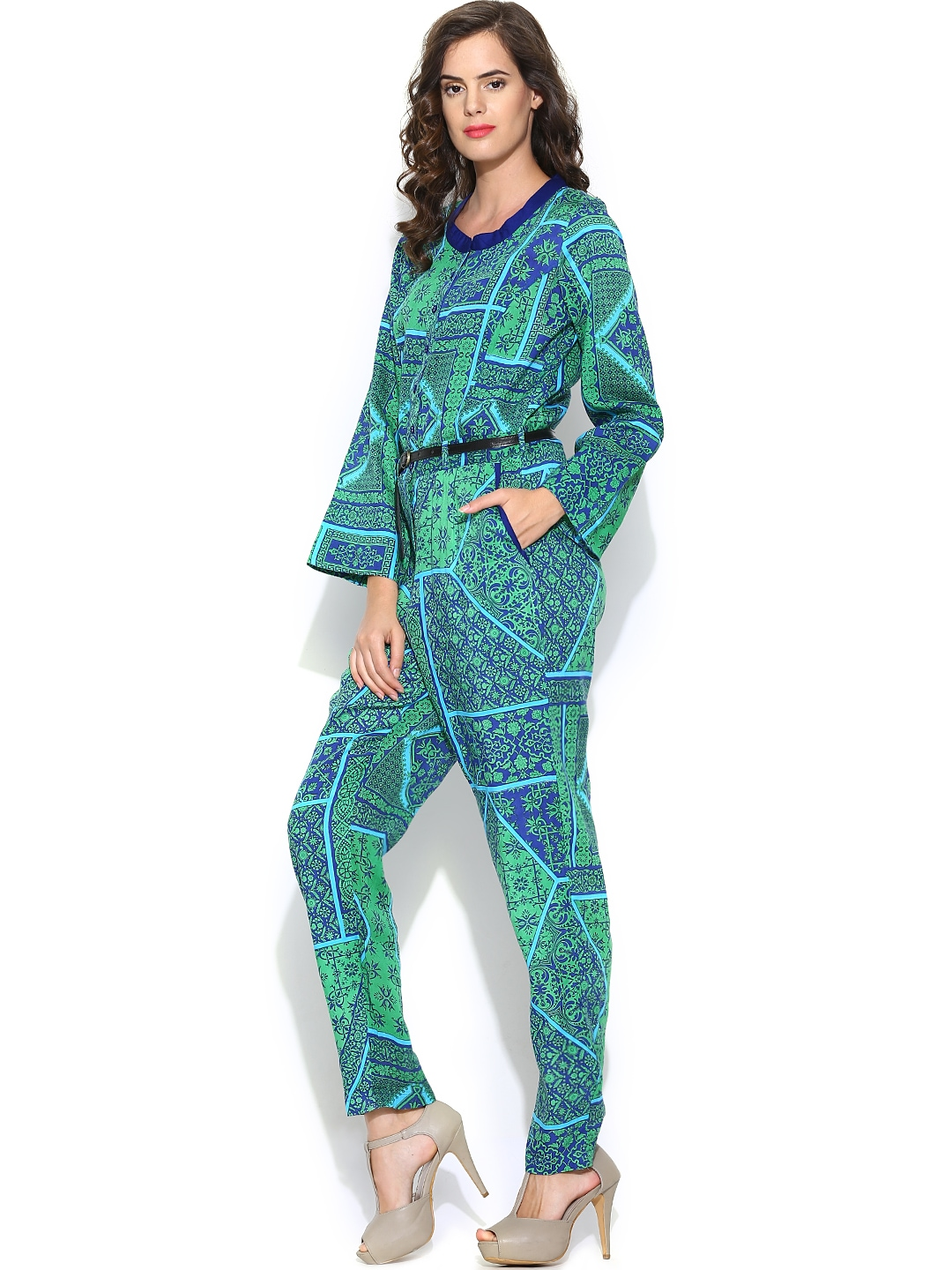 Innovative DearLover GreenSexy Jumpsuit With Pleated Bust Origami Detail