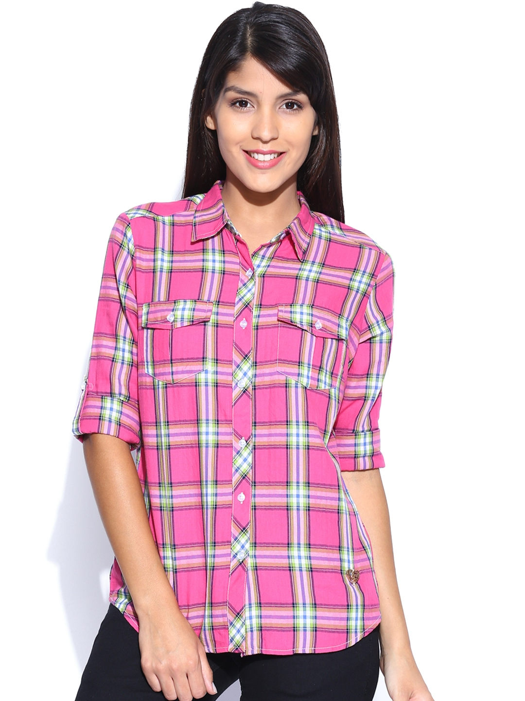 Myntra flying machine women pink green checked casual for Womens green checked shirt