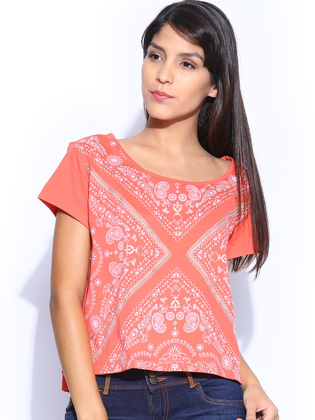 Myntra flying machine women coral red printed t shirt for Coral t shirt womens