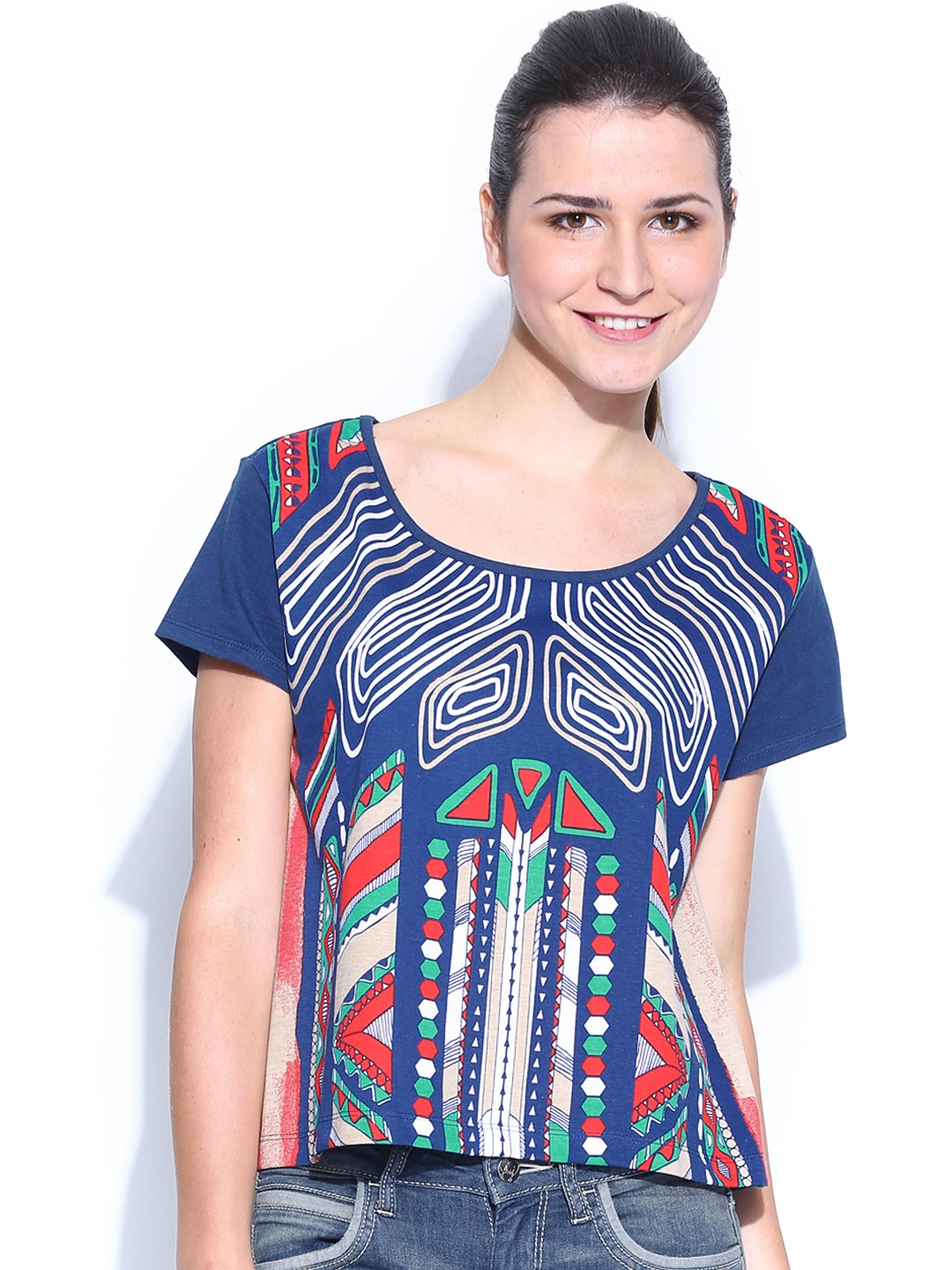 Myntra flying machine women coral red printed t shirt for Machine to print shirts