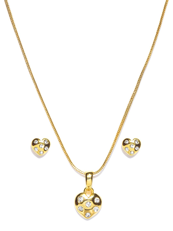 myntra estelle goldtoned earrings amp pendant set with