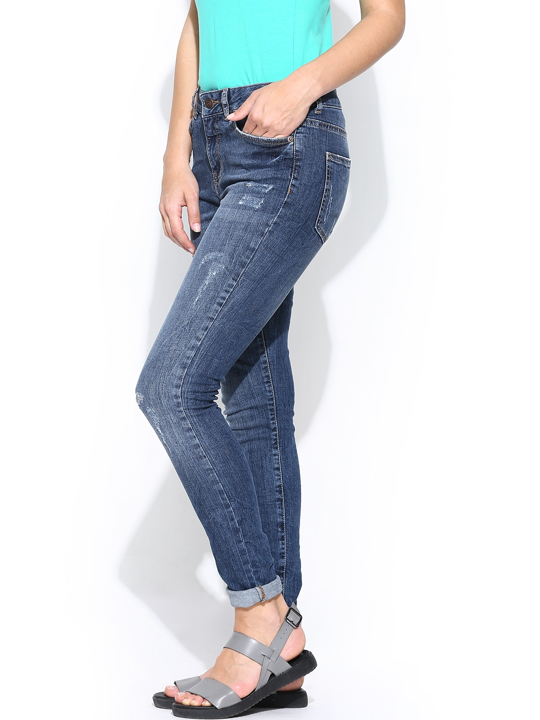 myntra vero moda women blue slim fit jeans 726833 buy myntra vero moda jeans at best price. Black Bedroom Furniture Sets. Home Design Ideas