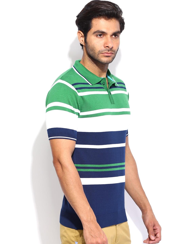 Myntra Van Heusen Men Green & Blue Striped Polo T-shirt ...